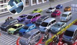 Kendaraan mobiil berhenti di lampu merah
