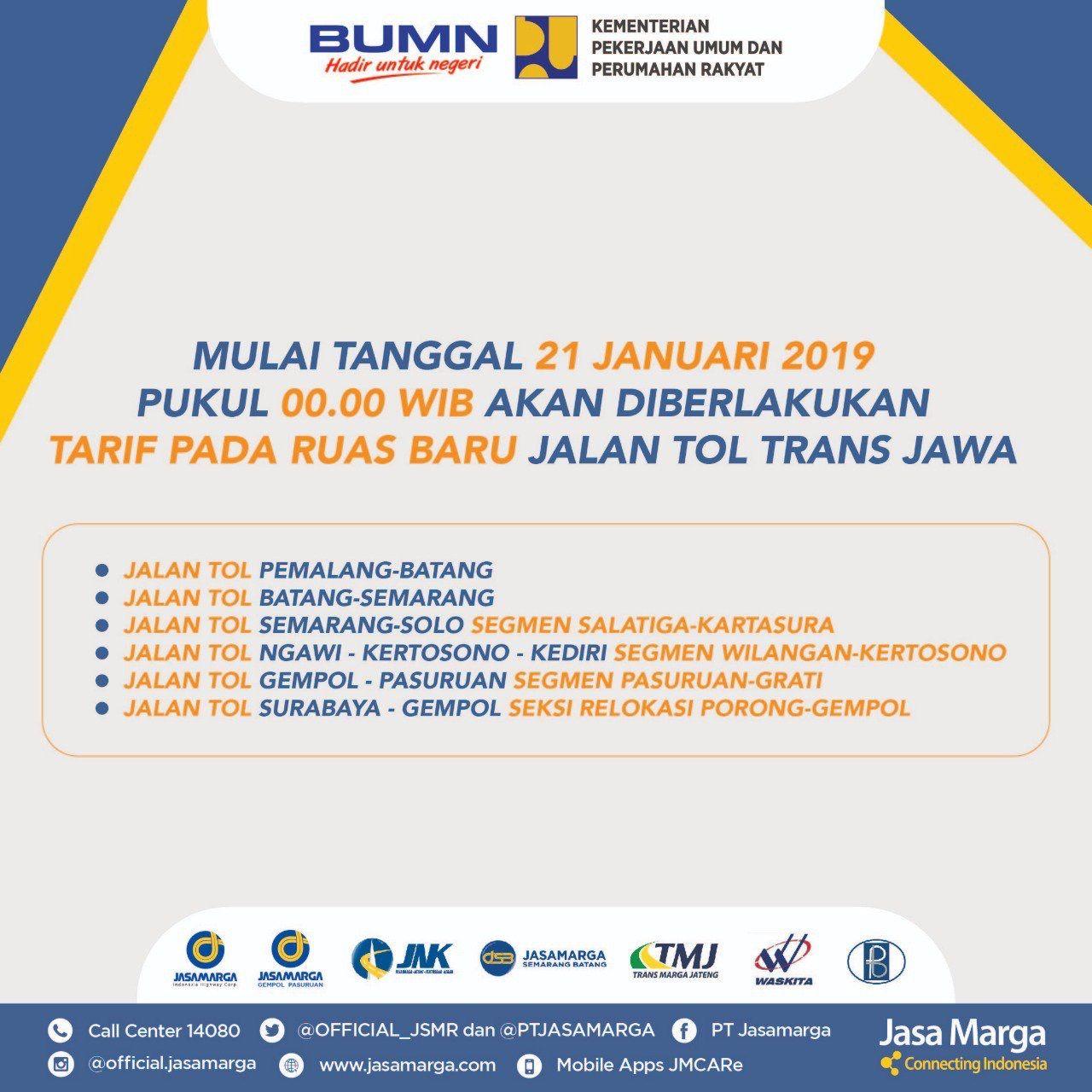 Tarif Tol Trans Jawa Berlaku 21 Januari 2019, Jakarta-Semarang Rp 334.500