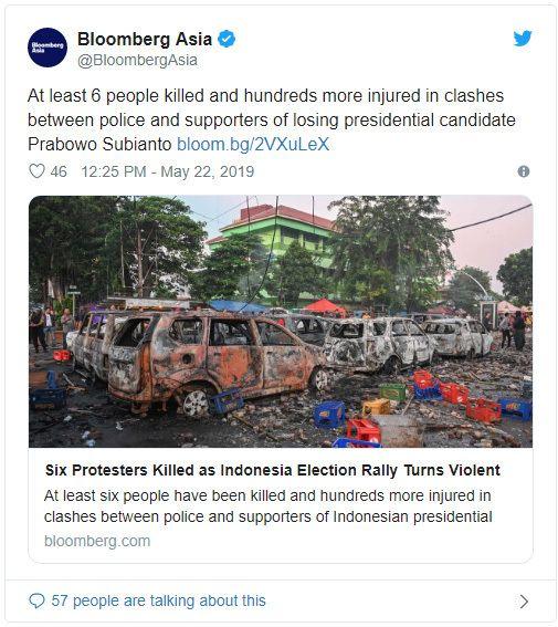 Media Asing Soroti Ulah Pendukung Prabowo di Aksi 22 Mei